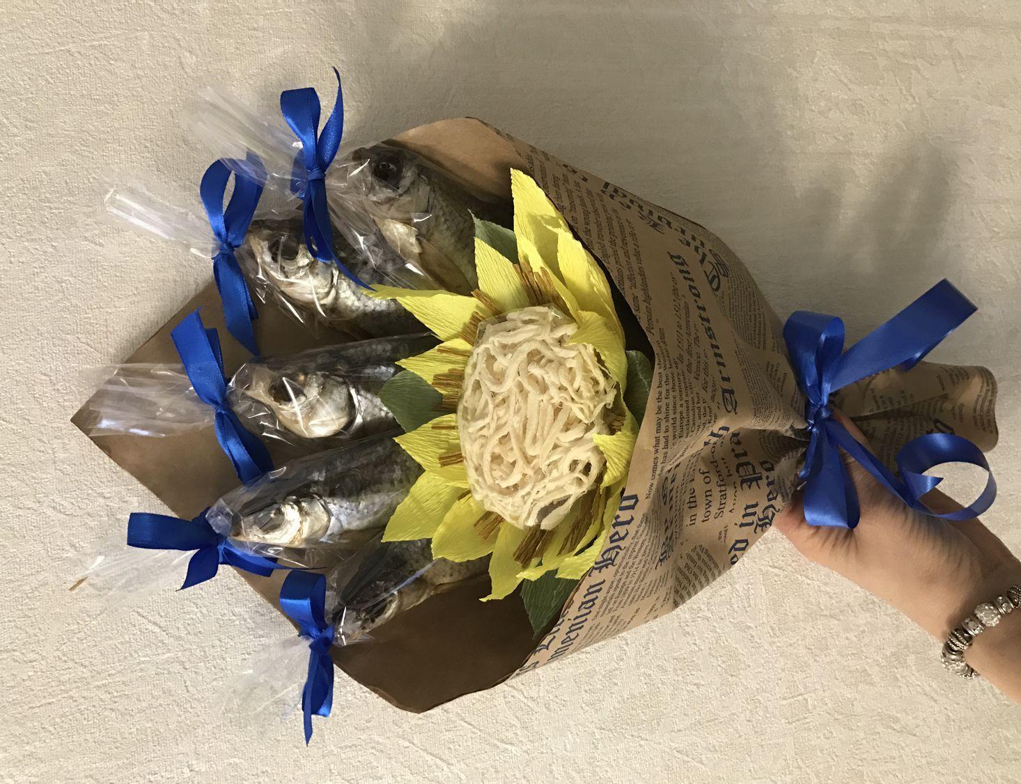 Букет для мужчины на день рождения из рыбы, дачная